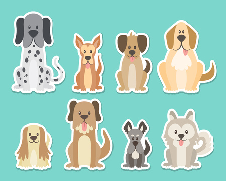 Sticker collection of different kinds of dogs. Sat dogs in front view position. Dalmatian, schnauzer, coker, german. Vector illustration. Ilustração