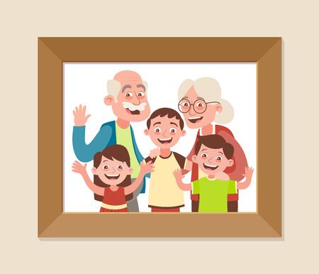 Grandparents and grandchildren framed photo. Grandparents day celebration. Happy grandparents and children. Vector illustration in cartoon style.