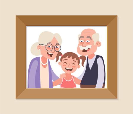 Abuelos y nieta foto enmarcada. Celebración del día de los abuelos. Abuelos felices y niña. Ilustración de vector de estilo de dibujos animados.