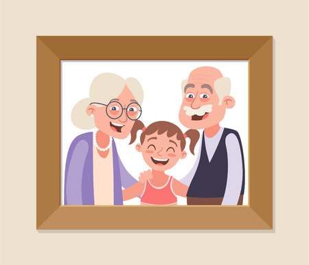 Großeltern und Enkelin gerahmtes Foto. Feier zum Großelterntag. Glückliche Großeltern und Mädchen. Vektorillustration im Cartoon-Stil.