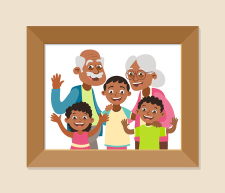Großeltern und Enkel gerahmtes Foto. Feier zum Großelterntag. Glückliche Großeltern und Kinder. Vektorillustration im Cartoon-Stil. Vektorgrafik