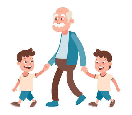 Grandfather with their grandchildren walking, he takes them by the hand. Two boys, twins. Cartoon style, isolated on white background. Vector illustration.