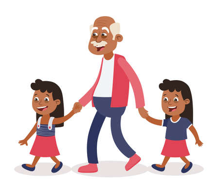 Grandfather with their grandchildren walking, he takes them by the hand.Two girls, tweens. Cartoon style, isolated on white background. Vector illustration.