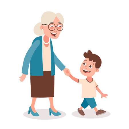 Grandmother and grandson walking and speaking, she takes him by the hand. Cartoon style, isolated on white background. Vector illustration. 向量圖像