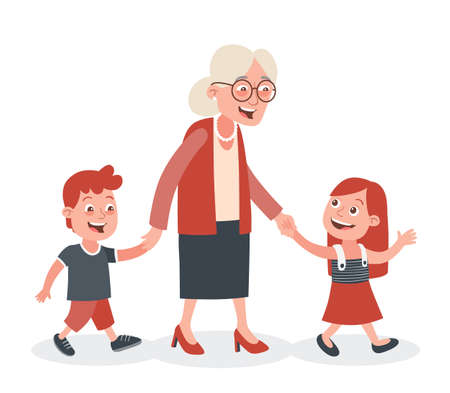 Grandmother with their grandchildren walking, she takes them by the hand. One boy and one girl. Cartoon style, isolated on white background. Vector illustration.