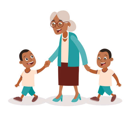 Grandmother with their grandchildren walking. Two boys, twins. She takes them by the hand. Cartoon style, isolated on white background. Vector illustration. Illustration