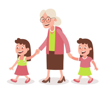 Grandmother with their grandchildren walking. Two girls, twins. She takes them by the hand. Cartoon style, isolated on white background. Vector illustration.