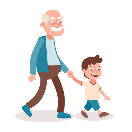 Grandfather and grandson walking, he takes him by the hand. Cartoon style, isolated on white background. Vector illustration. Ilustração Vetorial