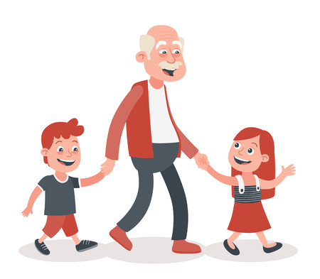 Grandfather with his grandchildren walking, he takes them by the hand. One boy and one girl. Cartoon style, isolated on white background. Vector illustration.