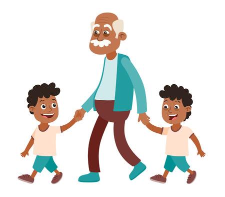 Grand-père avec ses petits-enfants marchant. Deux garçons, jumeaux. Il les prend par la main. Style de bande dessinée, isolé sur fond blanc. Illustration vectorielle. Vecteurs