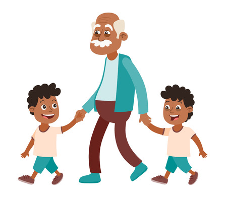 Grandfather with his grandchildren walking. Two boys, twins. He takes them by the hand. Cartoon style, isolated on white background. Vector illustration.