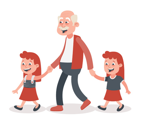 Grandfather with his grandchildren walking. Two girls, twins. He takes them by the hand. Cartoon style, isolated on white background. Vector illustration. Illusztráció