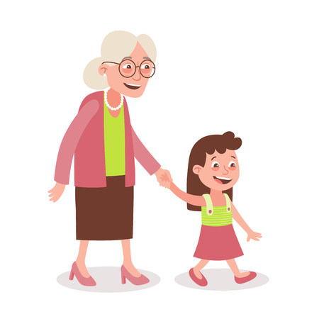 Grandmother and granddaughter walking, she takes her by the hand. Cartoon style, isolated on white background. Vector illustration. Vektorové ilustrace