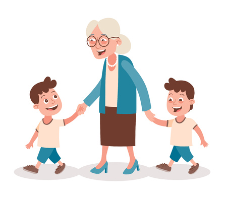Grandmother with her grandchildren walking, she takes them by the hand. Two boys, twins. Cartoon style, isolated on white background. Vector illustration.