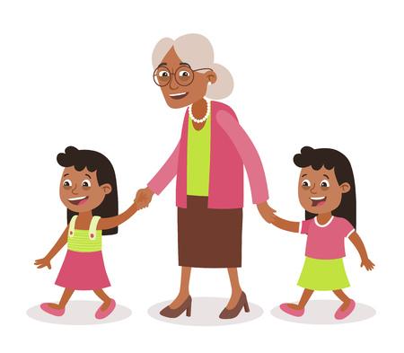 Abuela con sus nietos caminando, los toma de la mano. Dos niñas, preadolescentes. Estilo de dibujos animados, aislado sobre fondo blanco. Ilustración vectorial.