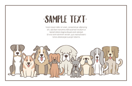 Herd of dogs with sample text. Hand drawn illustration background. Sat dogs in front view position. Vector illustration.
