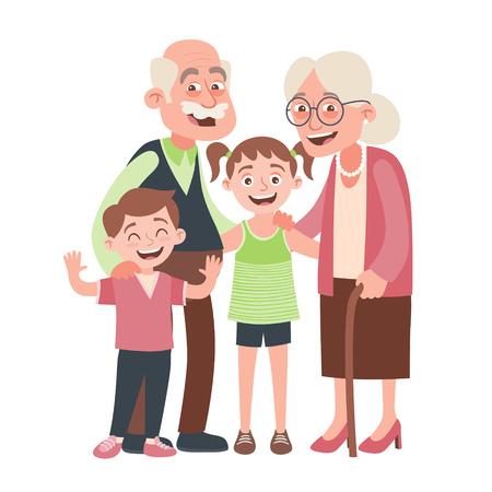Retrato de abuelos, nieta y nieto. Concepto de día de los abuelos felices. Ilustración de vector de estilo de dibujos animados, aislado sobre fondo blanco.