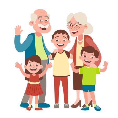 Grandparents, grandson and two grandchildren portrait. Happy grandparents day concept. Vector illustration in cartoon style, isolated on white background. Ilustração Vetorial