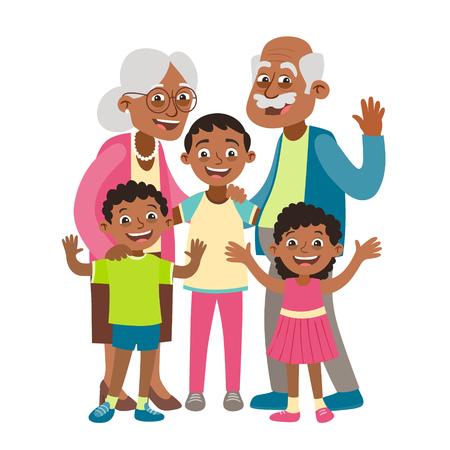 Retrato de abuelos, nietos y dos nietos. Concepto de día de los abuelos felices. Ilustración de vector de estilo de dibujos animados, aislado sobre fondo blanco. Ilustración de vector