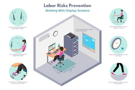 Prevención de riesgos laborales. Trabajos de oficina. Recomendaciones sobre el trabajo con pantallas de visualización. Ilustración isométrica, aislado sobre fondo blanco.