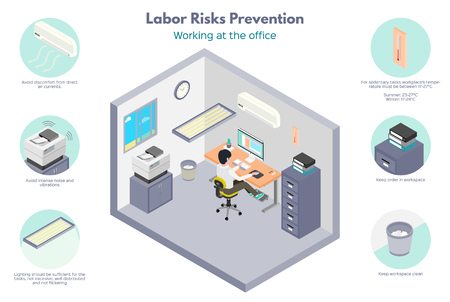Labor Risk recommendations. Office works. Optimal work environment conditions in the office. Isometric illustration, isolated on white background. Foto de archivo - 114945674