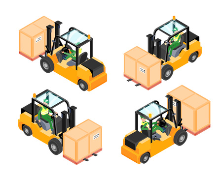 Isometric yellow forklift isolated on white background. Loaded forklift. All isometric views and profile with driver. Vector illustration.