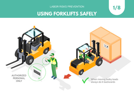 Recomendatios about using forklifts safely. Labor risks prevention concept. Isometric design isolated on white background. Vector illustration. Set 1 of 8. Vectores