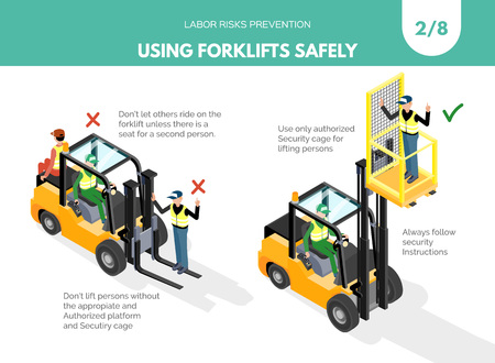 Recomendatios about using forklifts safely. Labor risks prevention concept. Isometric design isolated on white background. Vector illustration. Set 2 of 8.