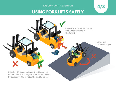 Recomendatios about using forklifts safely. Labor risks prevention concept. Isometric design isolated on white background. Vector illustration. Set 4 of 8 Zdjęcie Seryjne - 110390283