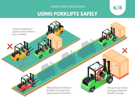 Recomendatios about using forklifts safely. Labor risks prevention concept. Isometric design isolated on white background. Vector illustration. Set 6 of 8