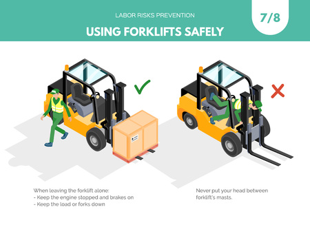 Recomendatios about using forklifts safely. Labor risks prevention concept. Isometric design isolated on white background. Vector illustration. Set 7 of 8 Illustration