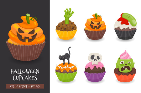 Halloween cupcake set. Cute scary desserts, perfect for party invitations. Vector illustration isolated on a white background. Set 2 of 3. Illusztráció