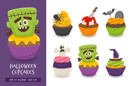 Halloween cupcake set. Cute scary desserts, perfect for party invitations. Vector illustration isolated on a white background. Set 3 of 3.