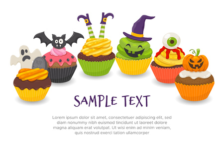 Halloween background with six funny cupcakes isolated on white background. Editable blank space, perfect for headers and DIY cards. Vector illustration.
