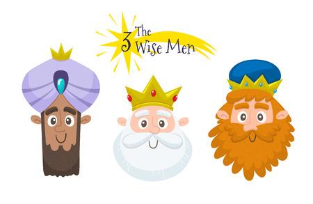 Three wise men avatar set. Three cute icons in cartoon style. Vector illustration.
