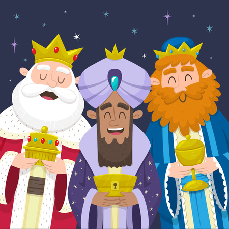 Funny portrait of Three Wise Men, the three Kings. Melchior, Gaspard and Balthazar smiling and bringing presents for Jesus. Vector illustration.