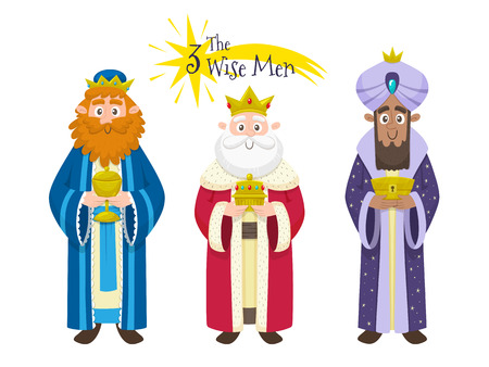 Three Kings of Orient in Spanish. Character design isolated on white background. Vector illustration.