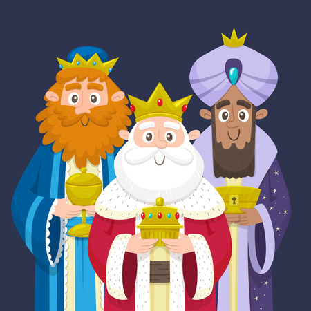 Three Kings. Three wise men portrait. Melchior, Gaspard and Balthazar bringing gifts for Jesus. Vector illustration. Ilustração