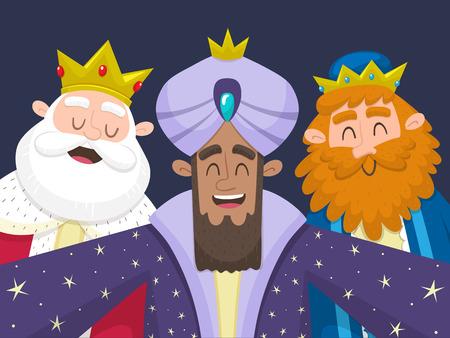 Tres Reyes Magos tomando un selfie. Ilustración de dibujos animados de los tres reyes de Oriente: Melchor, Balthazar y Gaspard. Ilustración vectorial.
