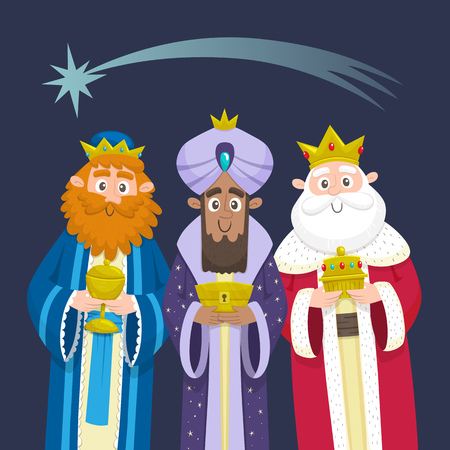 The three Kings of Orient Chrismas card. Three Wise Men. Cartoon character design. Melchior, Gaspard and Balthazar with presents for Jesus. Vector illustration. Vetores