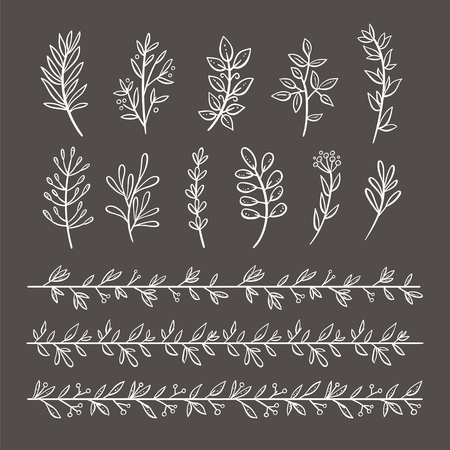 Bundle of branches with leaves and berries. Hand drawn blackboard decorative elements. Perfect for invitations, greeting cards, quotes, frames. Floral decorative borders. Vector illustration. Ilustração