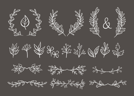 Floral ornament set. Wreaths and text dividers made of branches with leaves and berries. Perfect for invitation cards and page decoration. Vector illustration.