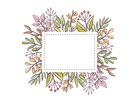 Cute leaves frame template. Hand drawn leaves and berries with an editable blank space in the middle. Floral card template. Vector illustration. Ilustração