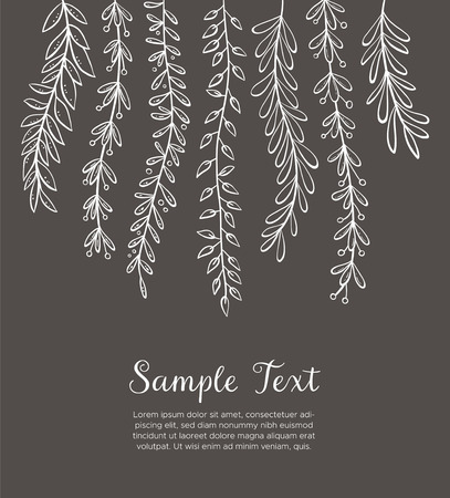 Dangling plants background. Hand drawn floral background. White drawing on blackboard. Vector illustration.