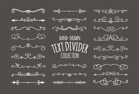 Decorative swirls dividers. White calligraphic swirl ornaments on dark background. Vector illustration. Ilustrace