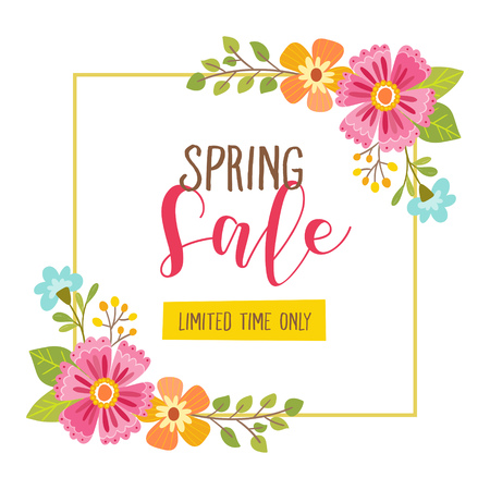 Floral spring sale card with limited time offer text included. Cute floral frame, perfect for backgrounds, cards, posters and other sale resources. Vector illustration. Ilustração