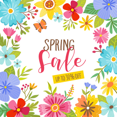 Floral spring sale card. Cute colorful floral frame. Perfect for backgrounds and seasonal sale promotions. Vector illustration.