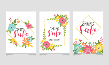 Spring sale web banner collection with beautiful colorful flowers. Perfect for your seasonal sale promotions. Vector illustration. Ilustração
