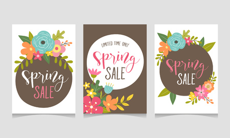 Spring sale web banner collection with beautiful colorful flowers. Perfect for your seasonal sale promotions. Vector illustration. Ilustrace