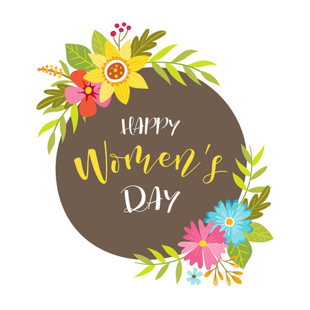 Womens day label with beautiful colorful floral decoration. Vector illustration. 向量圖像